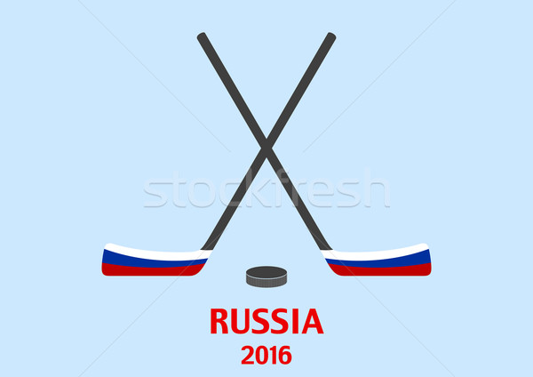 Hockey sticks and puck with the Russian flag Stock photo © saicle