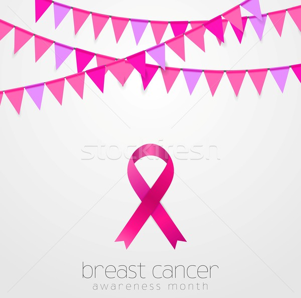 Breast cancer awareness month. Pink flags and ribbon design Stock photo © saicle