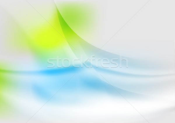Stockfoto: Abstract · zachte · groene · Blauw · golven · vector