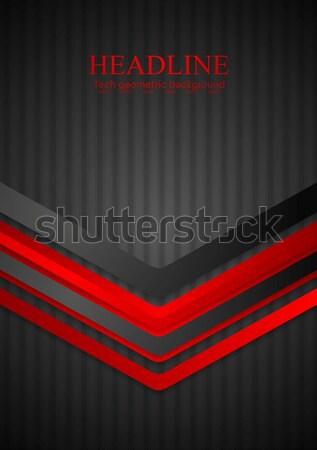 Sötét technológia piros nyilak vektor terv Stock fotó © saicle