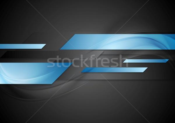 Zdjęcia stock: Ciemne · niebieski · geometryczny · wektora · technologii · korporacyjnych