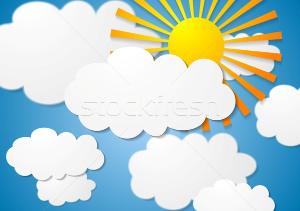 Vector cloudscape with sun Stock photo © saicle