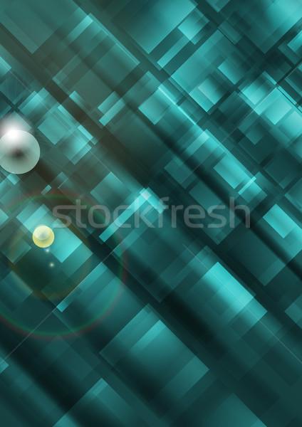 Meetkundig turkoois vector abstract ontwerp technologie Stockfoto © saicle