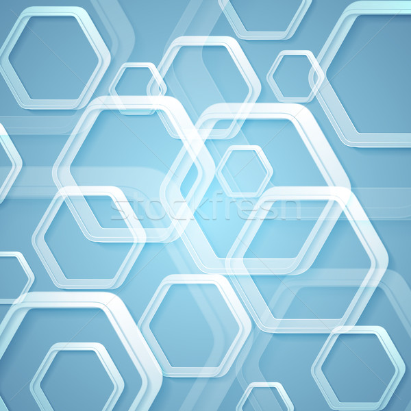 Stock photo: Abstract bright blue hexagons tech background