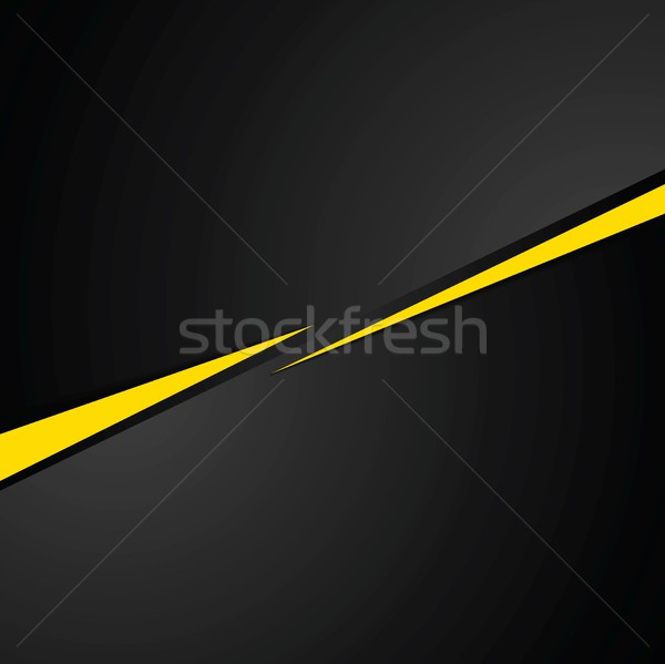 Stock photo: Tech black background with contrast yellow stripes