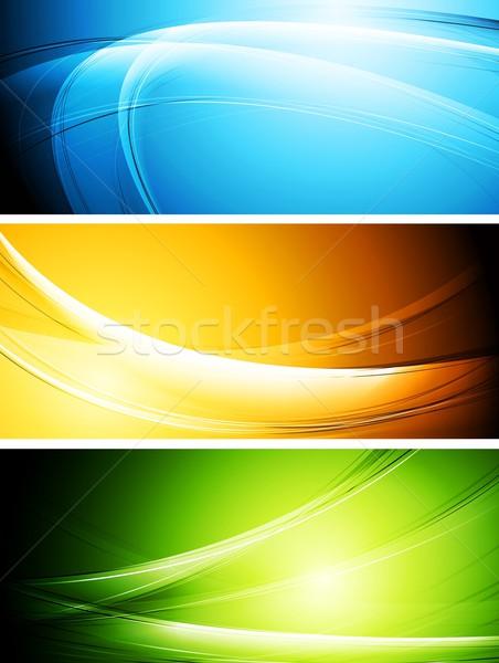 Colorido banners establecer vibrante olas eps Foto stock © saicle