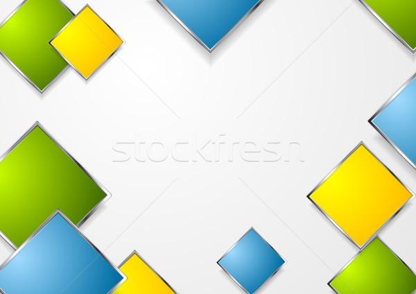 Bright geometric squares with metallic frame Stock photo © saicle