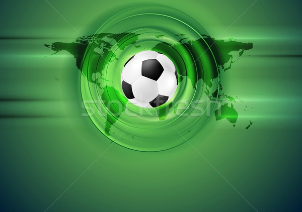 Green football abstract background with world map Stock photo © saicle