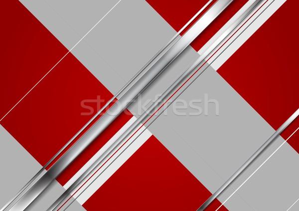 Minimalny tech metaliczny korporacyjnych streszczenie czerwony Zdjęcia stock © saicle