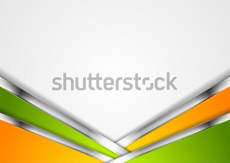 Silver metallic lines, orange green background Stock photo © saicle