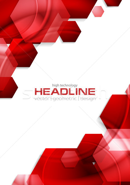 Red glossy tech hexagons vector background Stock photo © saicle