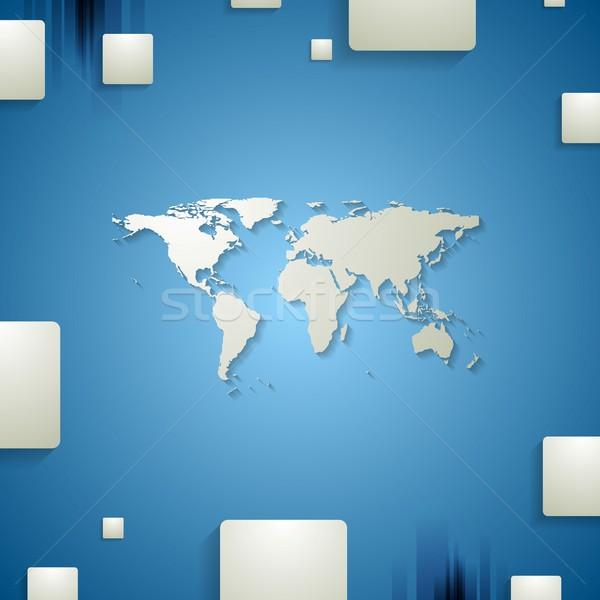 Tech корпоративного синий дизайна земле карта Сток-фото © saicle