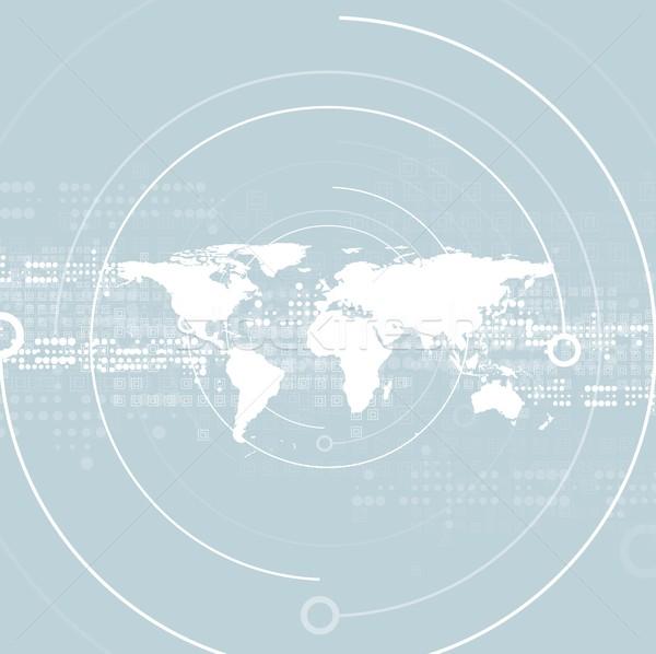 Absztrakt mértani világtérkép világoskék technológia vektor Stock fotó © saicle