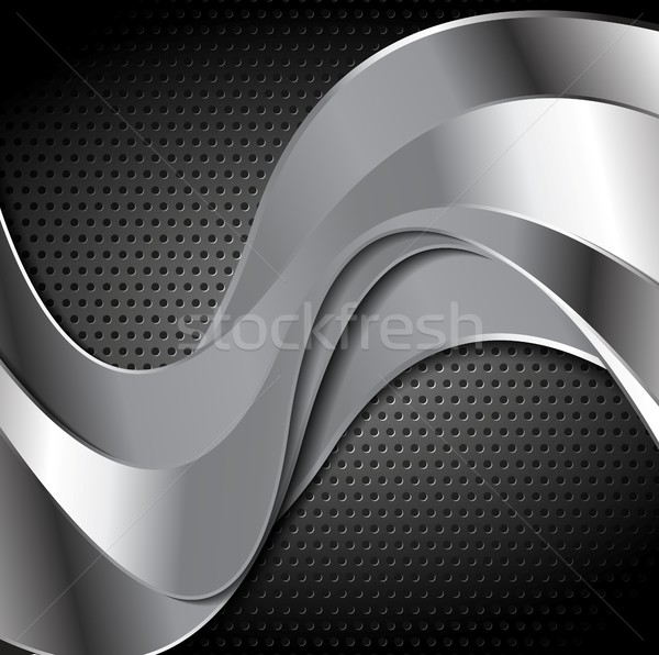 Abstract perforated metal texture with silver waves Stock photo © saicle