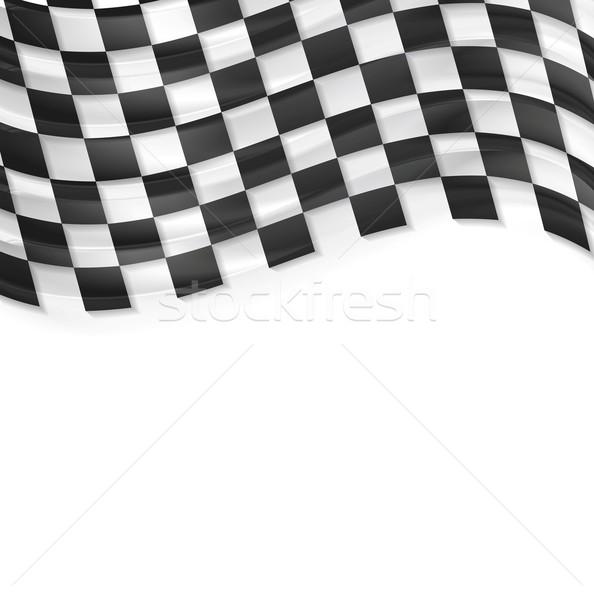 Finish wavy flag design. Black and white squares Stock photo © saicle
