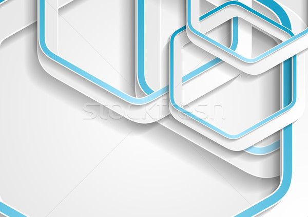Stock photo: Abstract blue and grey hexagons tech background