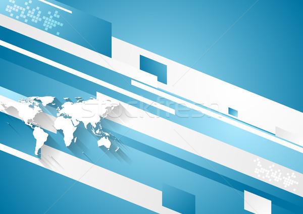 Tecnologia digitale geometrica corporate blu vettore abstract Foto d'archivio © saicle