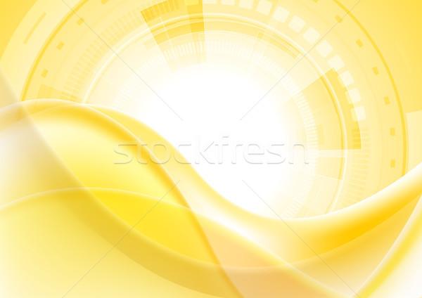オレンジ デジタル技術 未来的な 波状の ベクトル テンプレート ストックフォト © saicle
