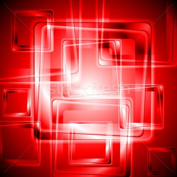 Vibrante rojo tecnología diseno resumen Foto stock © saicle