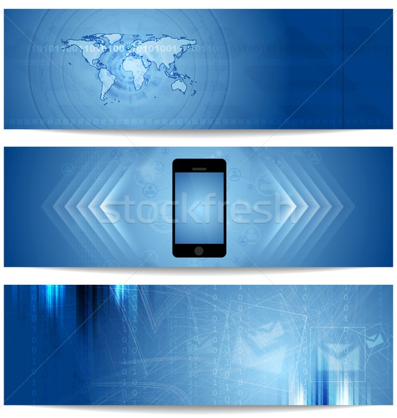 Blue abstract tech banners for web design Stock photo © saicle
