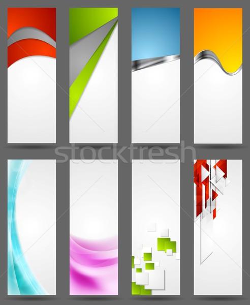 Сток-фото: аннотация · Tech · металлический · волнистый · вертикальный · Баннеры