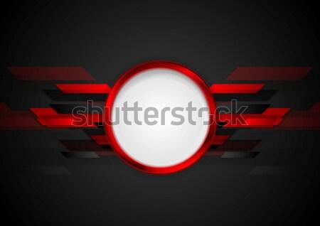красный черный шестиугольник логотип вектора Сток-фото © saicle