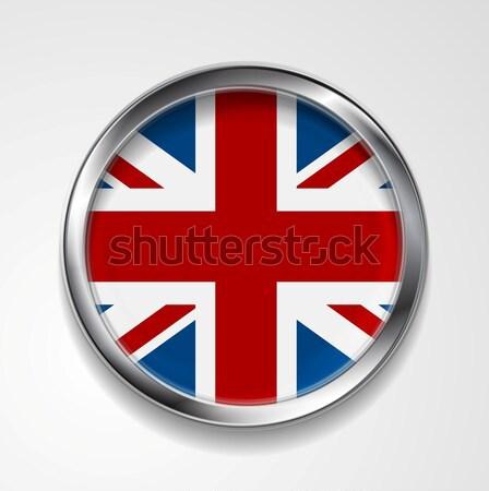 Zjednoczone Królestwo wielka brytania metal przycisk banderą wektora Zdjęcia stock © saicle