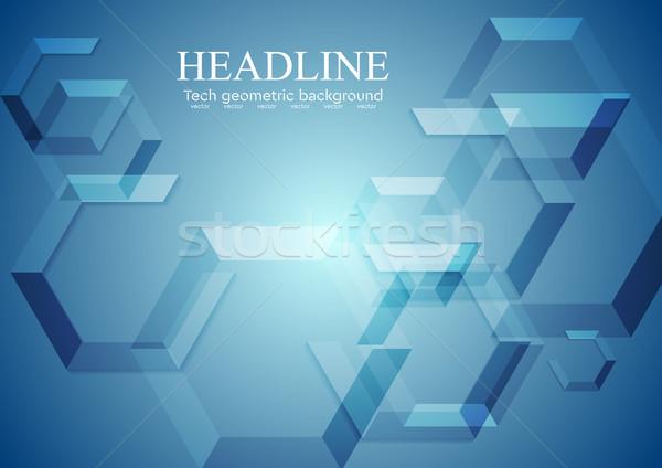 Blauw meetkundig vector ontwerp textuur achtergrond Stockfoto © saicle
