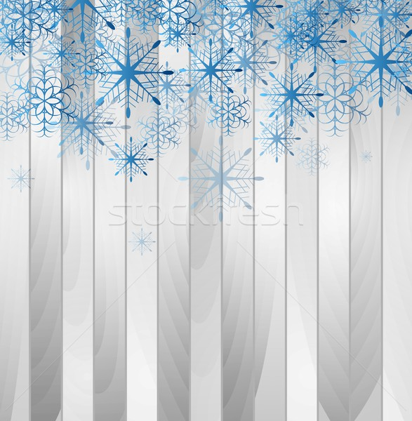 Blue falling snowflakes on wooden background Stock photo © saicle