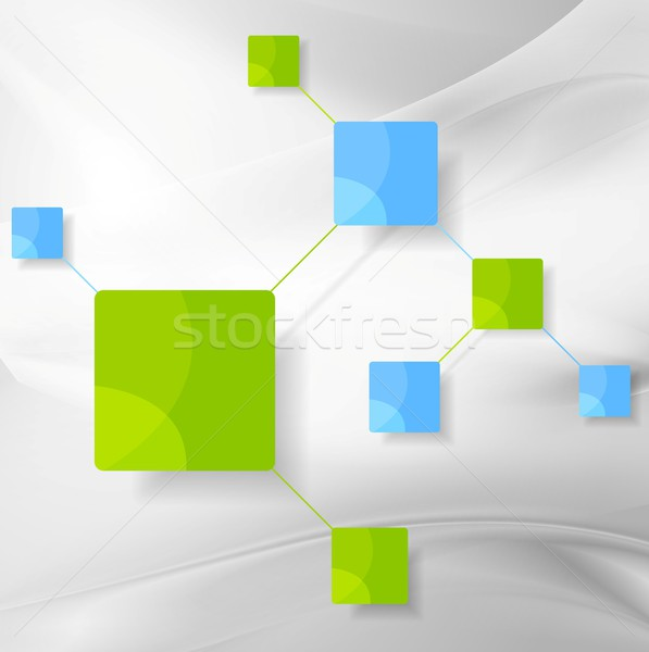 Graphic design with smooth grey waves and bright minimal squares Stock photo © saicle