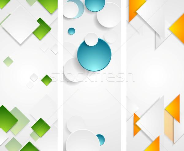 Bright tech geometric vertical banners Stock photo © saicle