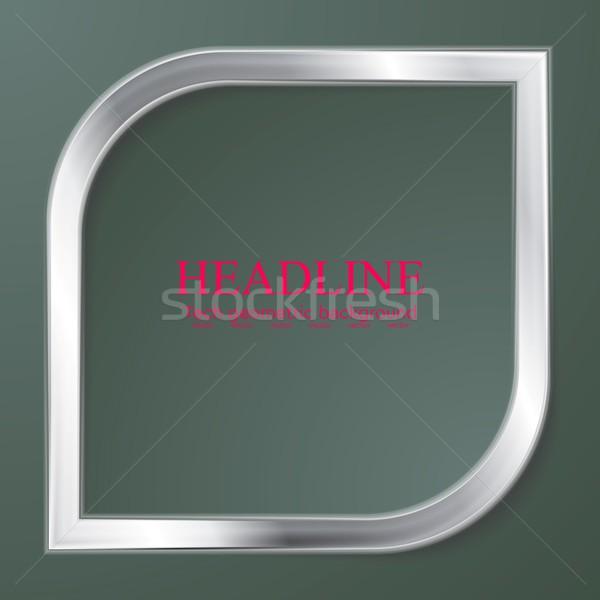 Silver metal rhombus shape on green background Stock photo © saicle