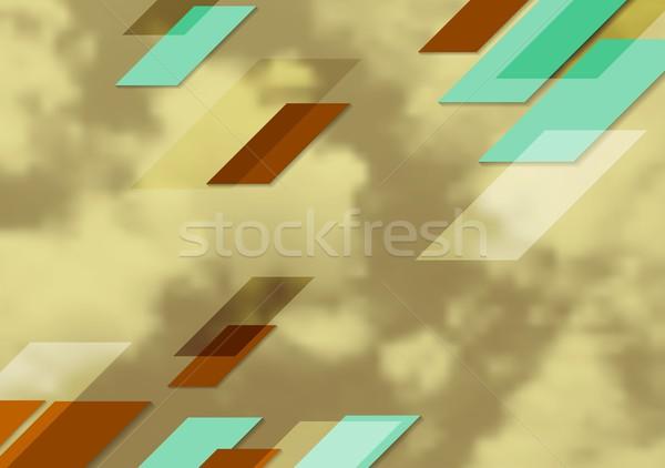 Abstract heldere tech meetkundig ontwerp sepia Stockfoto © saicle