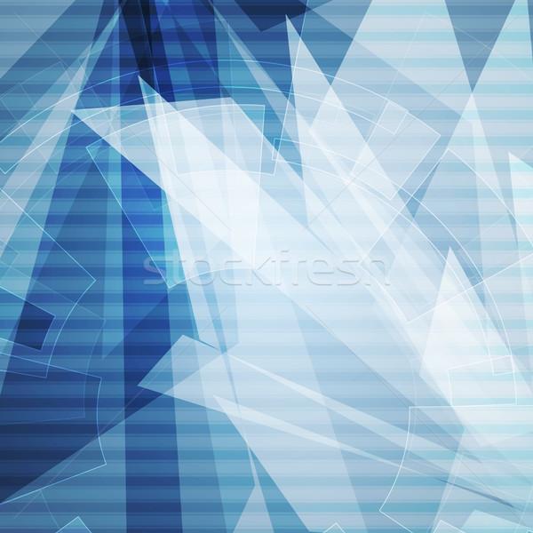 Kék absztrakt mértani technológia viselet forma Stock fotó © saicle