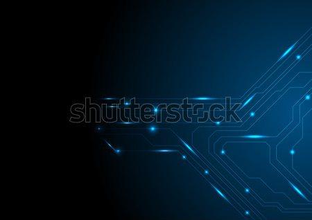 Sombre bleu circuit tech vecteur Photo stock © saicle