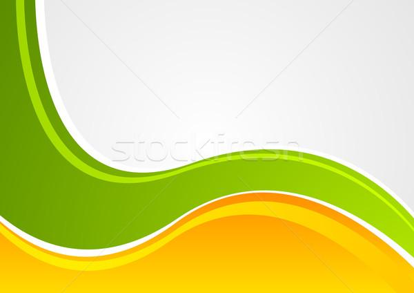Brillante verde naranja ondulado empresarial vector Foto stock © saicle