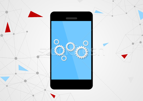 Mobile phone and gears on touchscreen Stock photo © saicle
