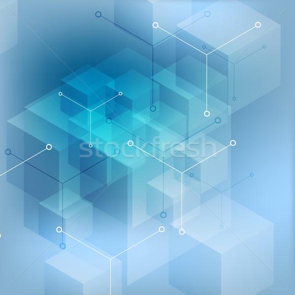Hi-tech abstract geometric blue background Stock photo © saicle