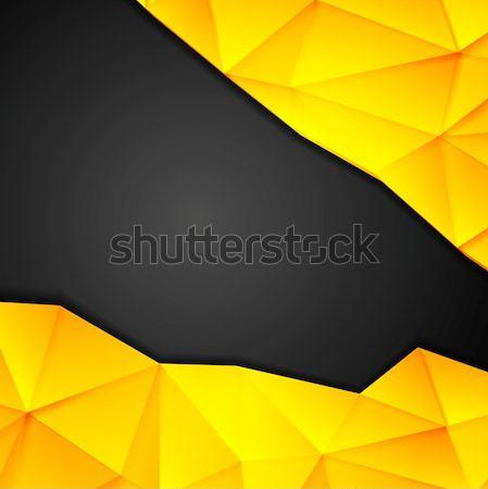 Tech geometry yellow and black background Stock photo © saicle
