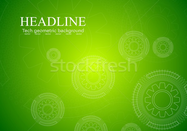 Bright green hi-tech background with gears Stock photo © saicle
