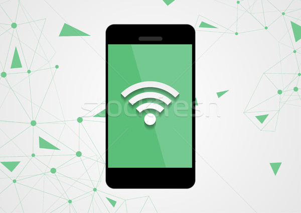 Wifi connection by mobile phone tech background Stock photo © saicle