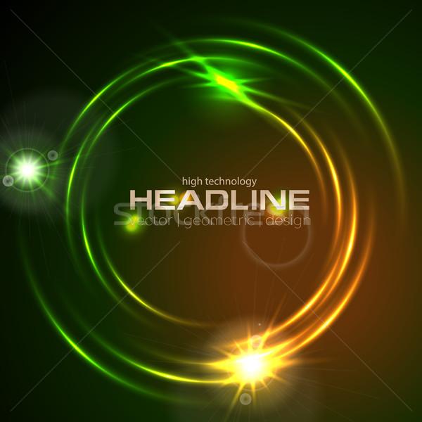 Glänzend glühend neon Kreis swirl abstrakten Stock foto © saicle