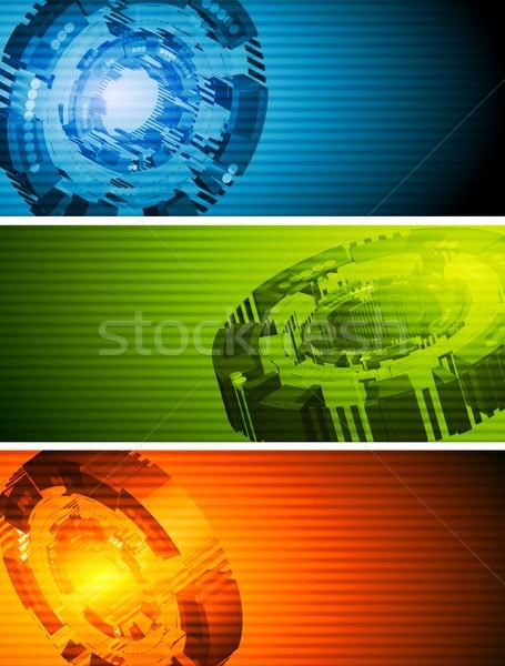 Abstrato vetor banners tecnologia projeto azul Foto stock © saicle