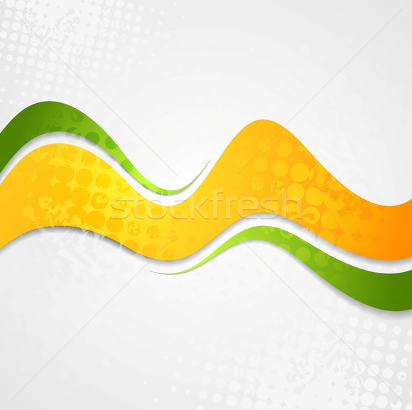 Soyut turuncu yeşil dalgalar grunge vektör Stok fotoğraf © saicle