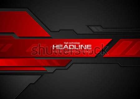 Czerwony czarny tech metaliczny stylu srebrny Zdjęcia stock © saicle