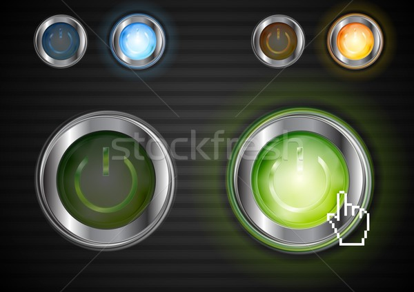 Power glossy buttons with the same illumination. Vector background Stock photo © saicle