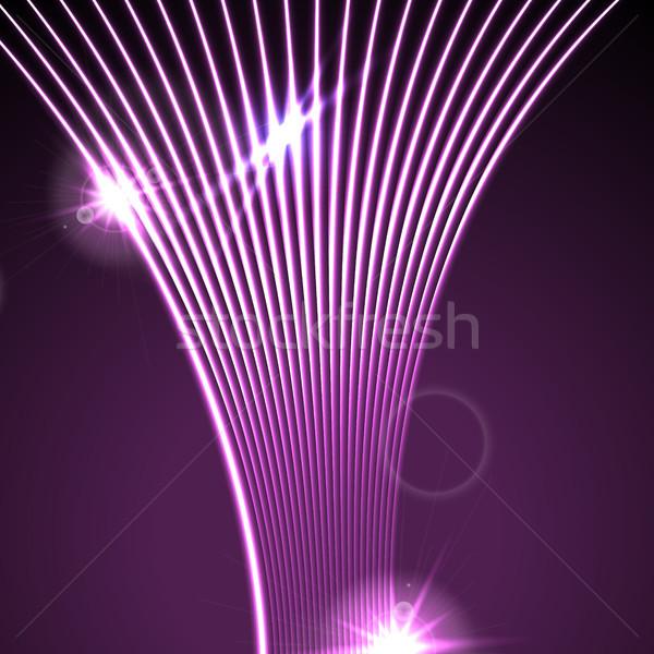 Neon lazer dalgalı hatları soyut Stok fotoğraf © saicle