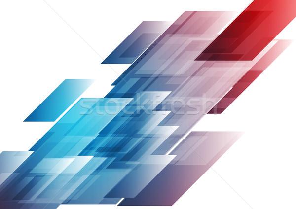 Blauw Rood vector technische meetkundig Stockfoto © saicle