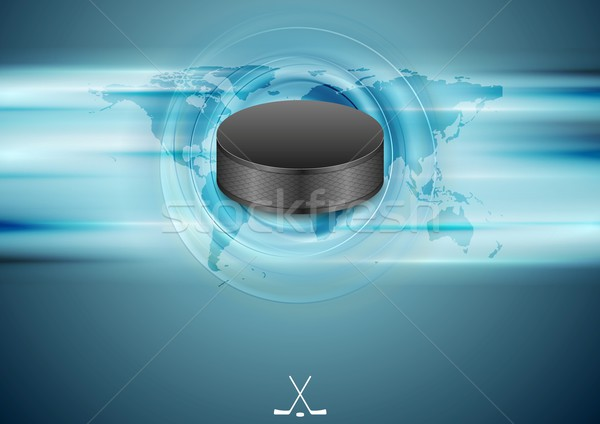 Blue abstract hockey background with black puck Stock photo © saicle