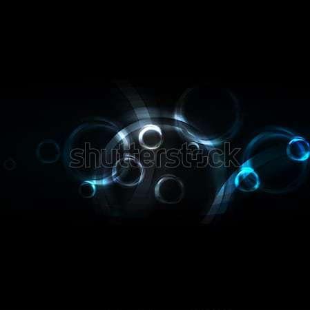 Dark backdrop with blue circles Stock photo © saicle
